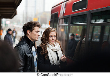 Couple At Railway Station