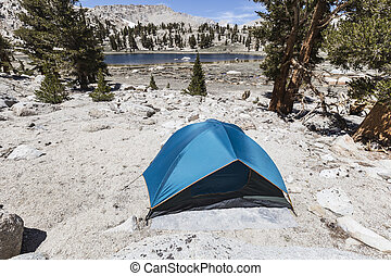 High Sierra Lake Back Country Tent Camp Site - Wilderness...