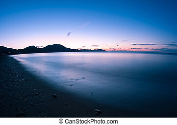 Night shot sea. - Night view of the sea bay. Crimea.