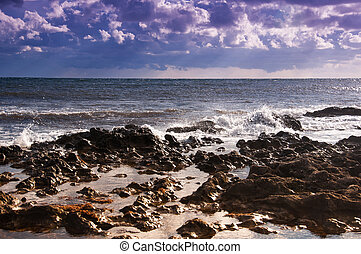 Seascape Ebb - Sea during the ebb rocky seashore Clouds and...