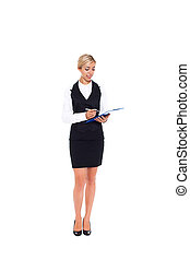 Businesswoman full length isolated - businesswoman happy...