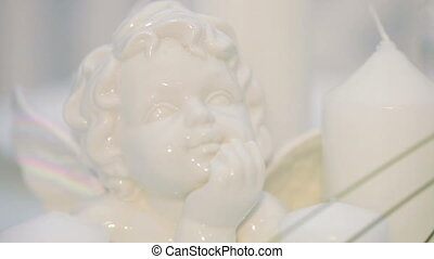 Porcelain angel face - Festive table decoration with...