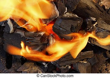 Burning Coal and Bright Flame in BBQ pit.