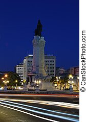 Monument of Marques do Pombal in Lisbon sunset - photo of...
