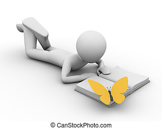 Man lying and reading a book and a yellow butterfly on the...