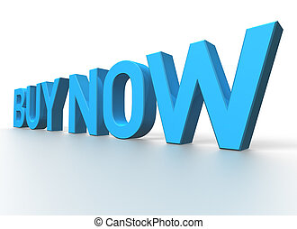 3d rendering of Buy Now blue glossy text on white background