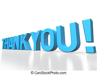 3d rendering of Thank you blue glossy text on white...