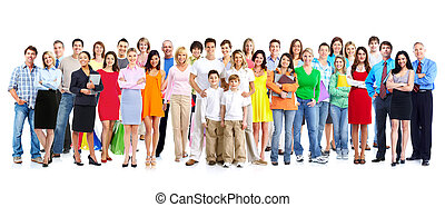 People group - Big family people group isolated white...