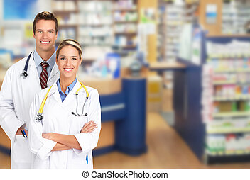 Pharmacist in a drugstore - Beautiful smiling pharmacist...