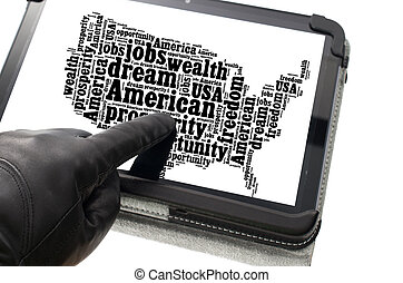 Online illegal activity concept with hand wearing black...