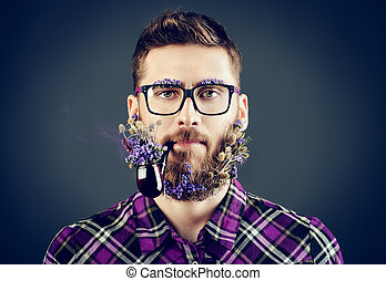 strange guy - Handsome young man in glasses and a beard of...