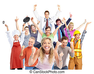 Group of happy workers people - Group of happy workers...