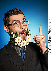 eureka - Extravagant businessman with a beard of flowers...