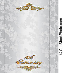 50th Wedding anniversary invitation - Ivy on elegant white...