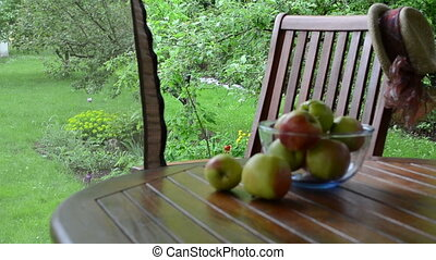 apple fruits bower - Blur apple tree fruits in glass dish...