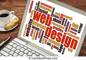 web design word cloud on a laptop screen with a cup of...
