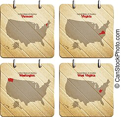 wv set - United States of America map on wooden icons