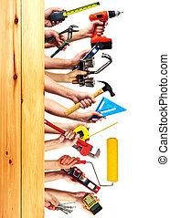 costruzione, attrezzi, mani