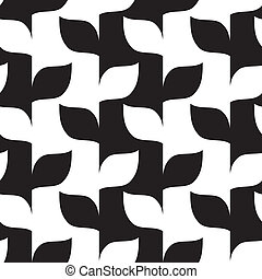 Seamless leaves in black and white pattern Vector...