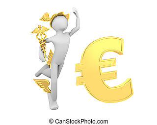 Hermes Mercury with Caduceus and Euro Sign
