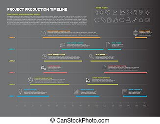 Vector dark project timeline graph - gantt progress chart