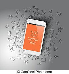 Realistic smartphone template with background icons and...