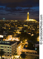 Hassan II mosque in Casablanca Morocco Africa night scene -...