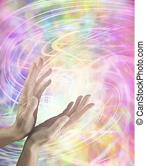 Healing hands and energy swirls - Female hands reaching up...