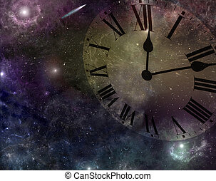 Time and Space - Deep space with image of clock face merged...