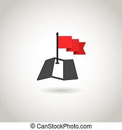 karta, begrepp, röd,  guidence, flagga