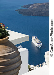 incredilbe santorini greek island view with cruise ship