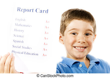 Good student - Stock photo of child holding report card, all...