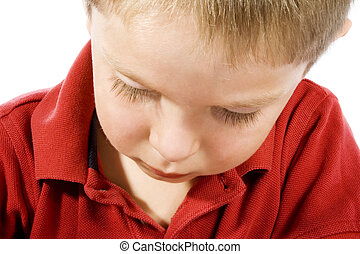 Sad Kid - Stock image of sad child over white background