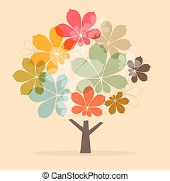 Retro Paper Abstract Chestnut Tree Vector Illustration