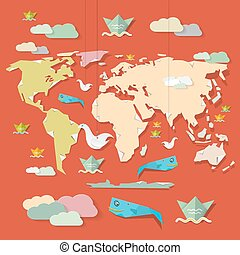 Retro Paper Vector World Map Illustration on Red Background