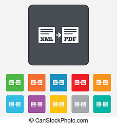 Export XML to PDF icon File document symbol Rounded squares...