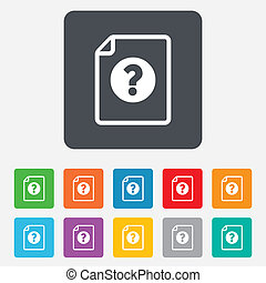 File document help icon Question mark symbol Rounded squares...