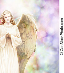 Guardian Angel - Traditional angel illustration on pastel...