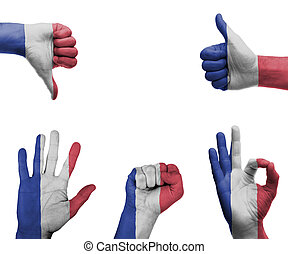 Hand set with the flag of France