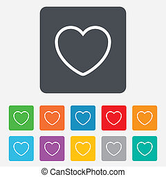 Heart sign icon Love symbol Rounded squares 11 buttons...