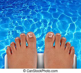 piscina, buzo