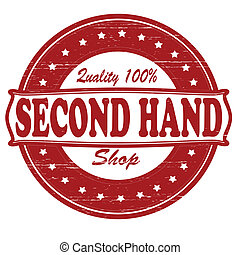 Second hand shop - Stamp with text second hand shop inside,...