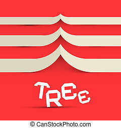 Paper Tree Vector Symbol on Red Background