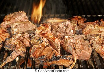 Roasted lamb chops on BBQ Grill, XXXL - Roasted Lamb Ribs on...