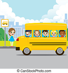 School Bus Stop - Little girl waiting on bus stop to ride...