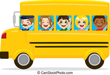 School Bus Kids - Illustration of school bus with cute happy...