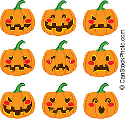 Pumpkin Face Expressions - Cute Halloween pumpkin decoration...