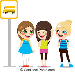 Schoolgirls Waiting Bus Stop - Three cute schoolgirls...