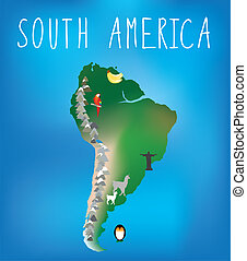 south america map for childrens using cartoons of animals and fa