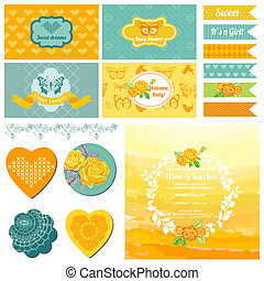 Baby Shower or Party Set - Vintage Butterfly Theme - in vector